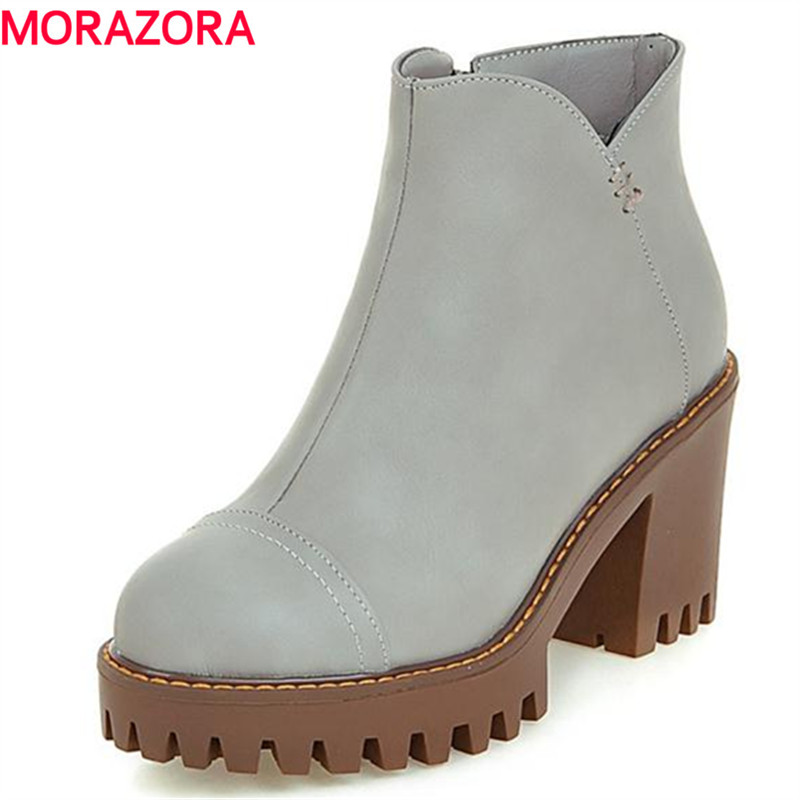 MORAZORA Contracted fashion women boots platform shoes solid pu large size 34-43 boots autumn ankle boots college style ...