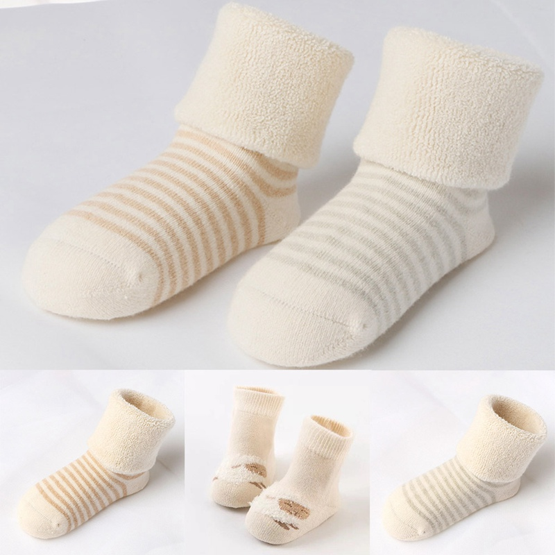 Baby Socks 2018 New Winter Striped Terry Socks Thick Warm Children Infant Boys And Girls Baby Socks Cotton Newborn Socks