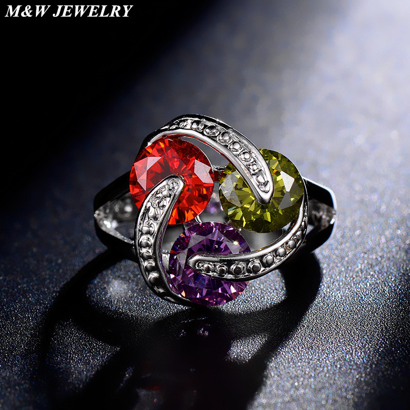 M&W JEWELRY 2017 fashion hot sale personalized jewelry for women AAA + Cubic Zirconia ring romantic wild accessories