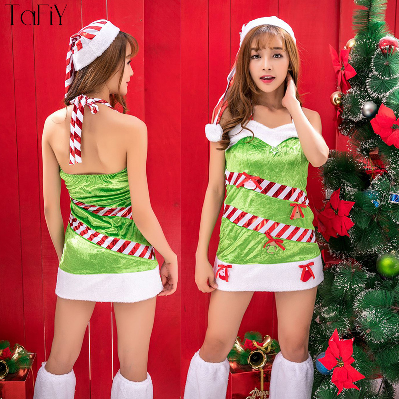 2c570c20f TaFiY Newest Sexy Women Christmas Dress Santa Costume Green Velvet Strappy  One Size Women Xmas Cosplay Umiform Halloween Costume-in Holidays Costumes  from ...