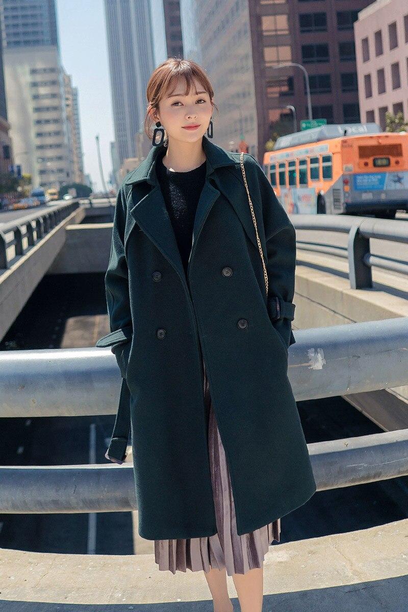 Double Longue Coréenne Manteau Femmes Femme Solide Laine Mode Décontracté Poches À Pour Vert Mélange Veste Boutonnage De nBOHZ