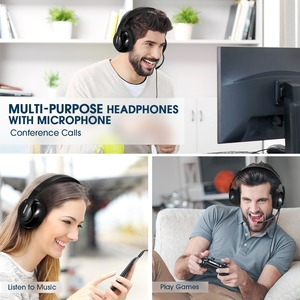 Image 5 - Mpow HC4 Wired Headphones For Call Center Retractable Microphone Fold able Headset USB/3.5mm Plug Headphone For Skype PC Tablet