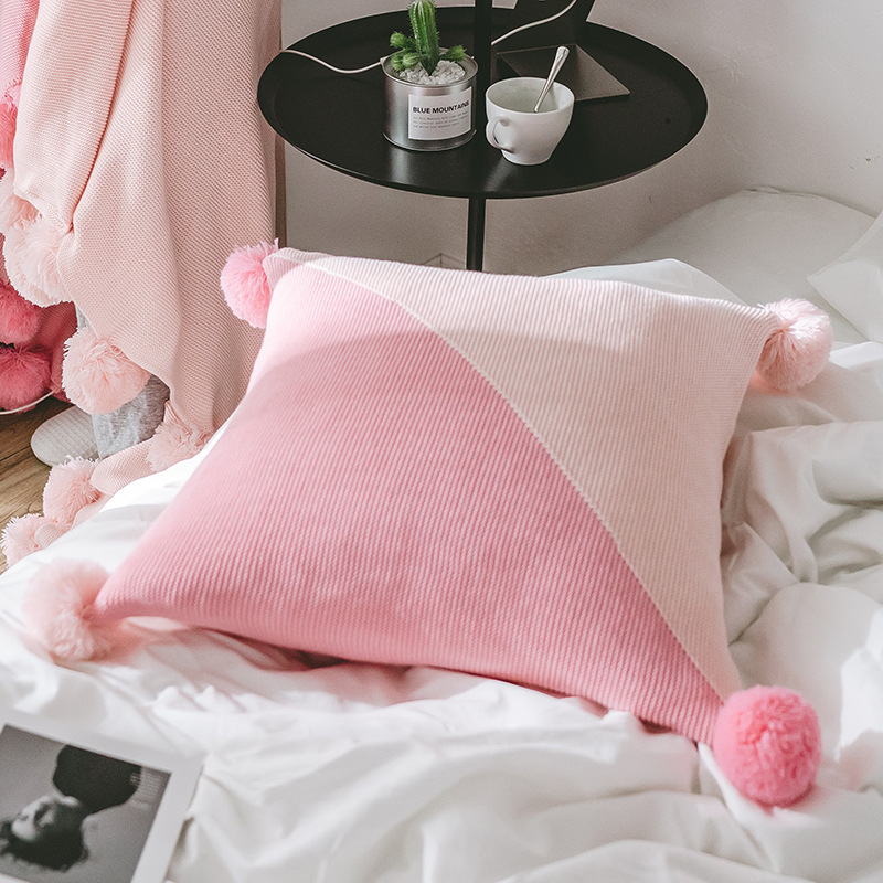 2018 New Plaids Explosion Pink Grey Knitted Blanket Throw Knit Ball Blankets Bedding Sofa Pillow Cover Same Style Cushion Cover