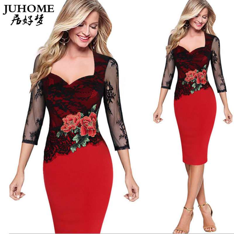 2018 Autumn Three Quarter Lace Embroidered Wrap Dress Women Tunic