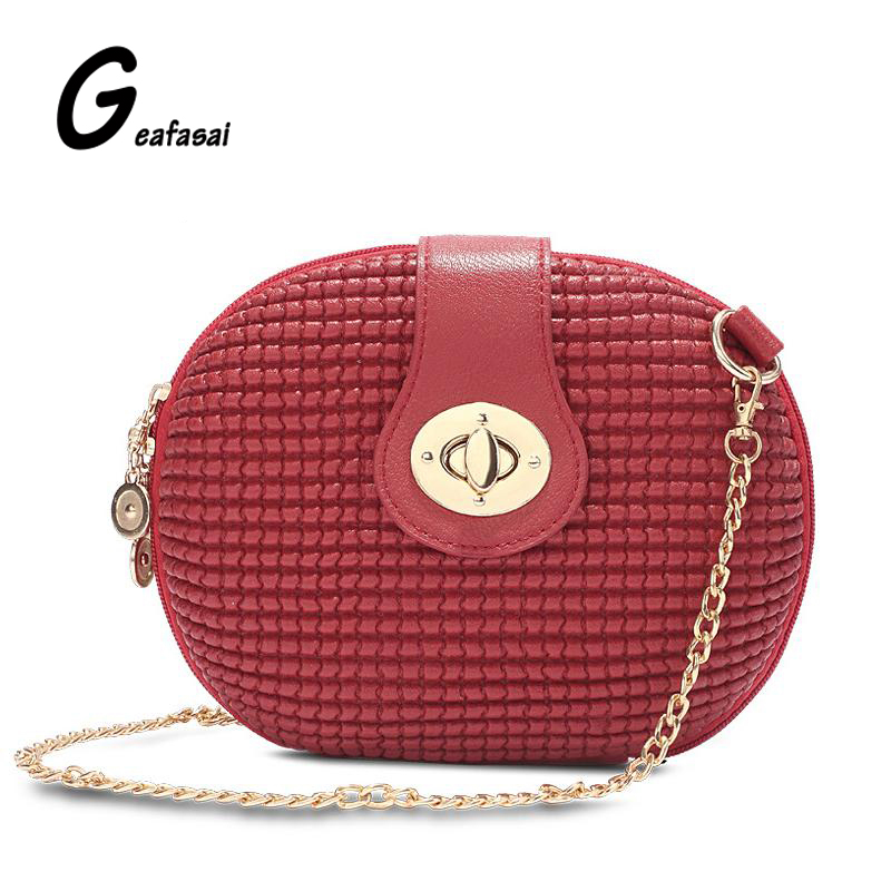 brand solid Candy Color red black white Oval Embossed lady Small Mini circular minaudiere Women Messenger Crossbody Bags chains