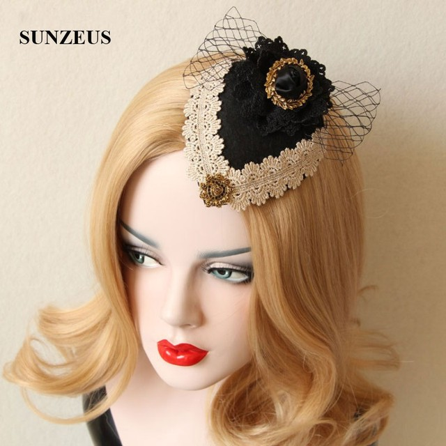 Black Velvet Y Small Hats For Women With Lace S Party Hair Accessories Vintage Wedding