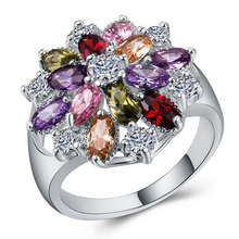 Diamond rings Emerald ring Amethyst rose golden jade Crystal ruby Gold opal Luxury jewelry ladies color zircon B1023