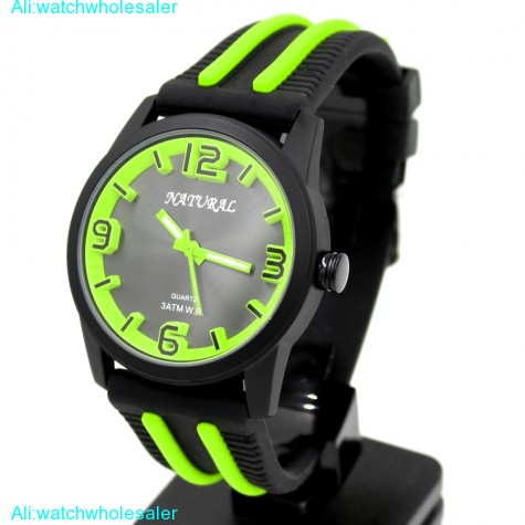 FW848P New NATURAL Silicone Black Band Gorgeous Stylish Neon Green Fashion Watch