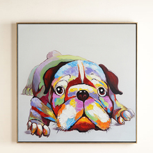 100% Hand Painted Colorful Cartoon Dog Art Painting On Canvas Wall Adornment Pictures For Live Room Home Decor
