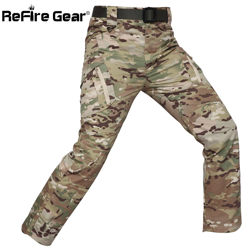 ReFire Gear Camouflage Tactical Pants Men Rip-Stop Waterproof Military Pants SWAT Army Combat Cargo Pants Pockets Camo Trousers