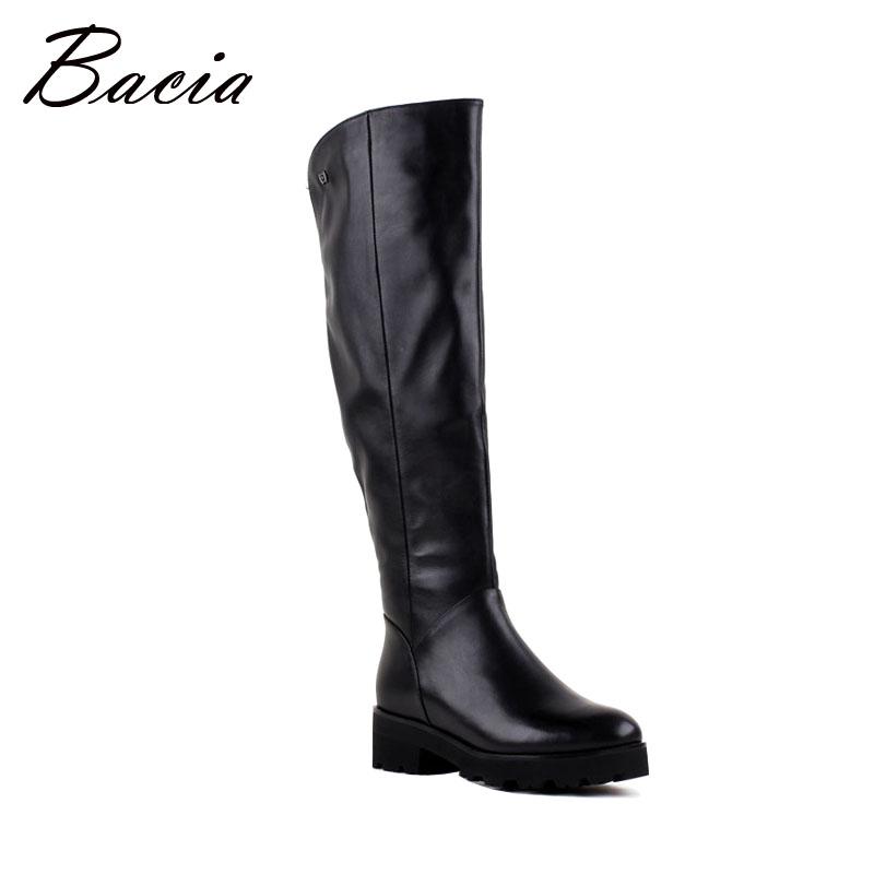 Bacia High Quality Women Classic Long Boots Square Heels Winter Boots Real