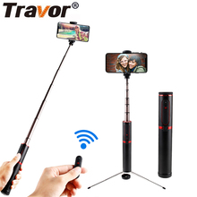 TRAVOR Tripod Monopod Selfie Stick Bluetooth Portable Handheld Selfie Stick 3 in 1 For iPhone Samsung Huawei Xiaomi Android 100%original huawei honor bluetooth selfie stick tripod portable bluetooth3 0 monopod for iphone android huawei smart phone