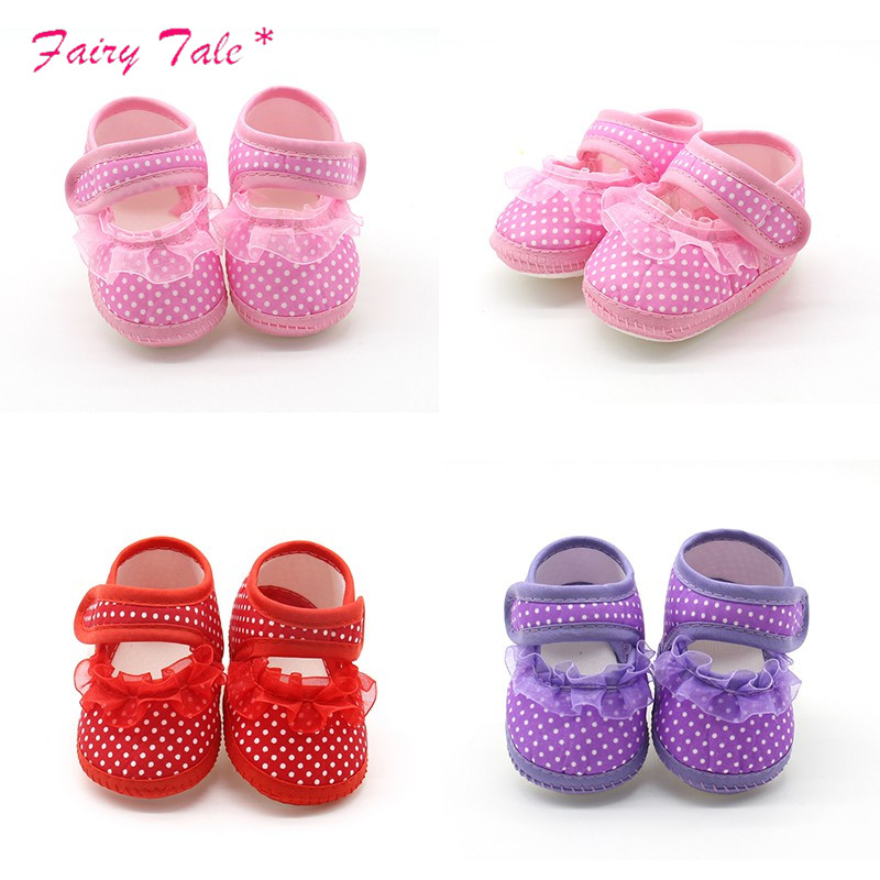 Baby Infant Shoes Girls Dot Lace Soft Sole Prewalker Warm Casual Flats Shoes Newborn Toddler First Walker Sole Anti-Slip Shoes