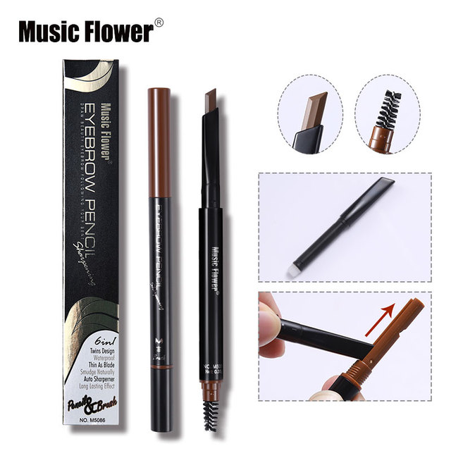 Music Flower 3 Colors Long Lasting Eyebrow Pencil Natural Brown Auto