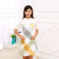 Japan Style Cotton Aprons Fashion Colorful Plaid And Flower Pattern Apron With Two Pocket Shoulder Strap