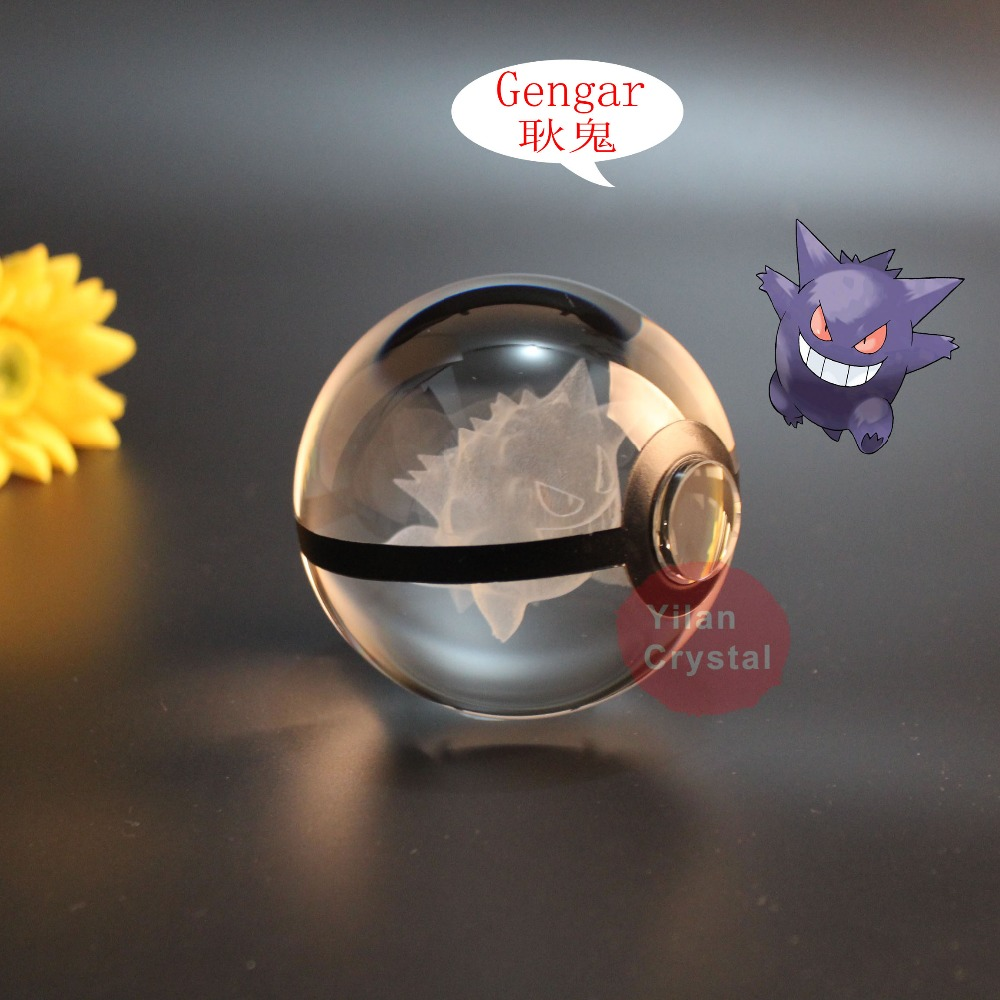 New Style Free Shipping Good Quality Genger Pokemon Ball With Engraving Crystal Ball With Led base With Gift Box