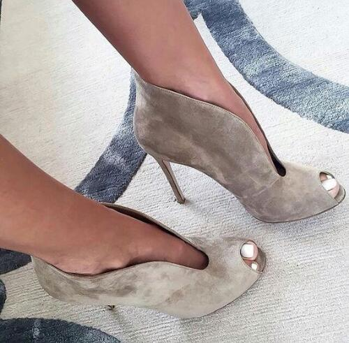 Fashion Suede Leather Ankle Boots Women Sexy Peep Toe Pumps Deep V Front Ladies High Heel Slip On Fashion Dress Shoes Plus Size