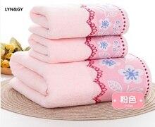 LYN&GY 3-Pieces Thicker Floral Pattern Soft Cotton Towel Set Bathroom Super Absorbent Bath Towel Face Towels  jogo de toalhas de floral pattern face bath towel 100