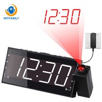 Digital Projector Radio Alarm Clock LED Display USB Charging Cable Table Temperature FM Radio Date Snooze Function Backlight