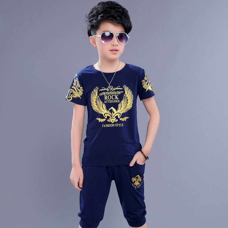 Children's Clothing Set Twinset Casual Male Short-sleeve T-shirt + Pants Sports Suit for Boys 2018 Summer Kids Tracksuit Shorts