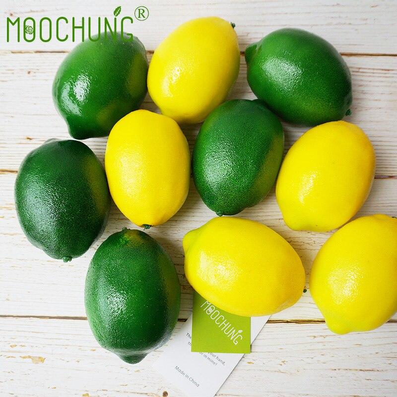 Moochung 10pcs Artificial Lemons For Decoration Fake Fruit Onetime
