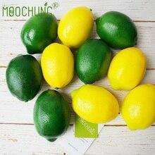 MOOCHUNG 10PCS Artificial Lemons For Decoration Fake Fruit Home House Kitchen Party Decor Lifelike Yellow Green Lemon Prop New