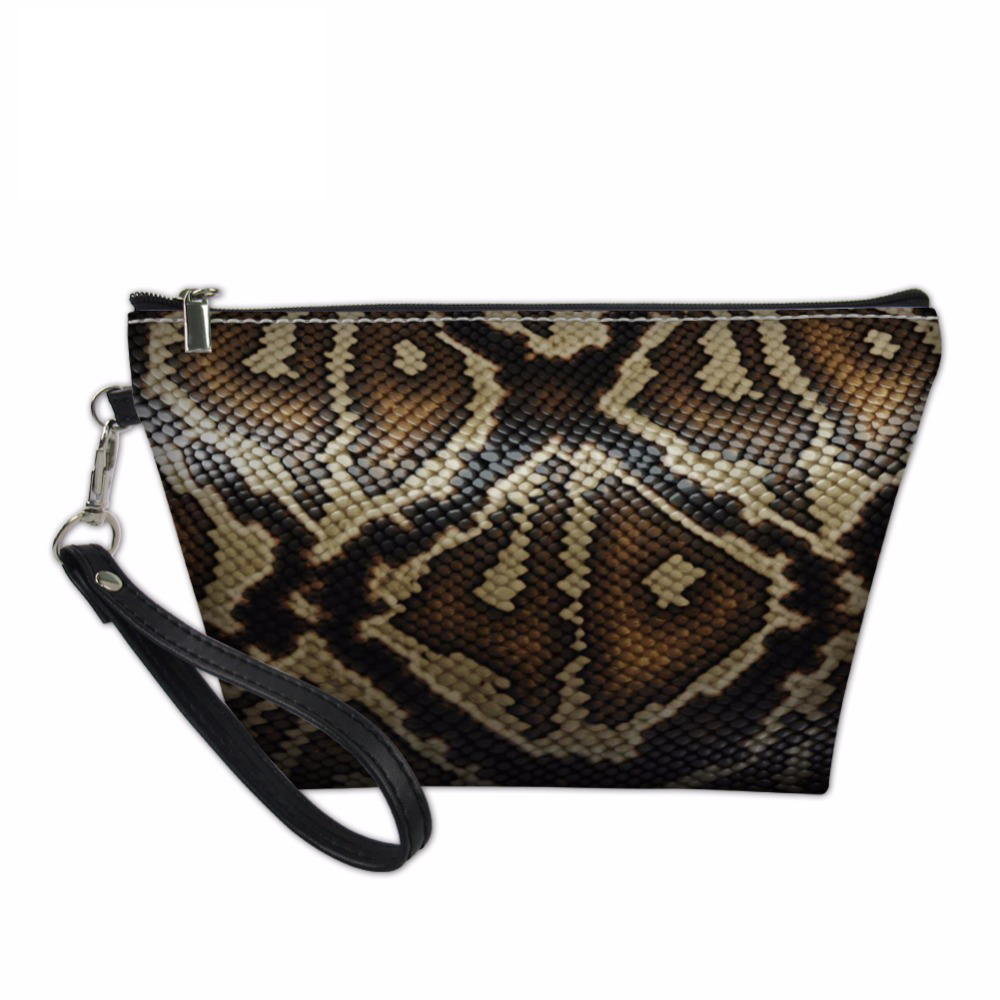 Noisydesigns Serpentine Printed Makeup Bag Ladies Travel Organizers Women Girls Make Up Case Snakeskin Cosmetics Toiletry Bag