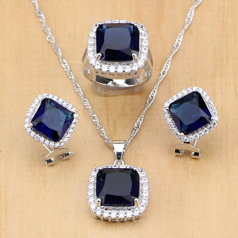 Silver 925 Jewelry Sets Blue Zircon White CZ Beads Wedding Decorations For Women Earrings/Pendant/Ring/Necklace Mom's Gift