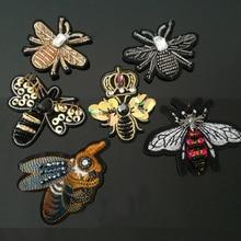 Золотая Корона пчела блестки брошь со стразами и бусинами нашивки аппликация пришить на аппликация Одежда Обувь, Сумки, украшение патч AC1249