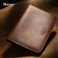 Muzee Crazy Horse Leather Men Wallet Leather Hand Bag Wallet Multi Function Coin Bag Leather Bag