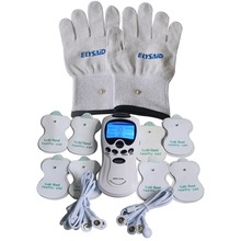Dual Channel Electrode Muscle Stimulator Full Body TENS Digital Therapy Massager+1Pair Conductive Silver Fiber Massager Gloves