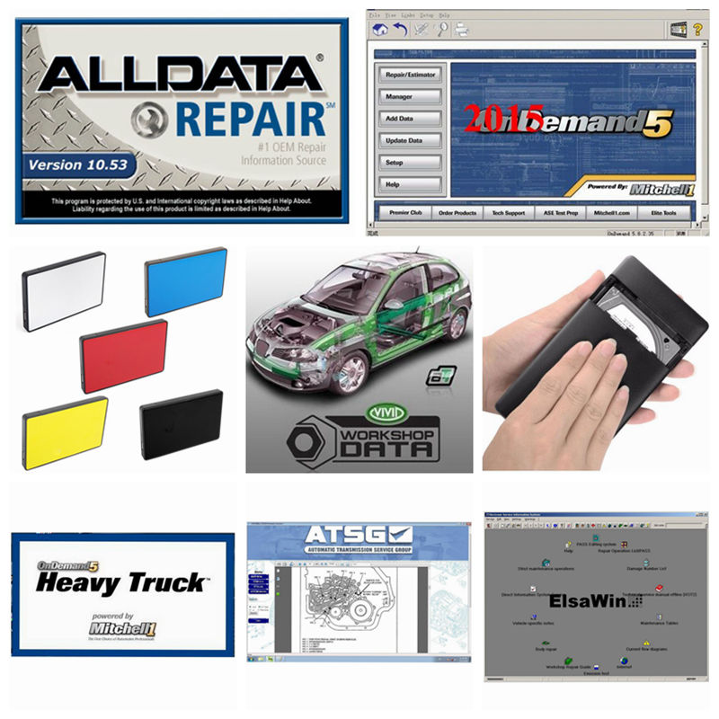 alldata and mitchell software alldata 10.53V auto repair software + Mitchell ondemand 2015V + Vivid Workshop data + manager plus 1 18 auto maintenance manager general manager figure model