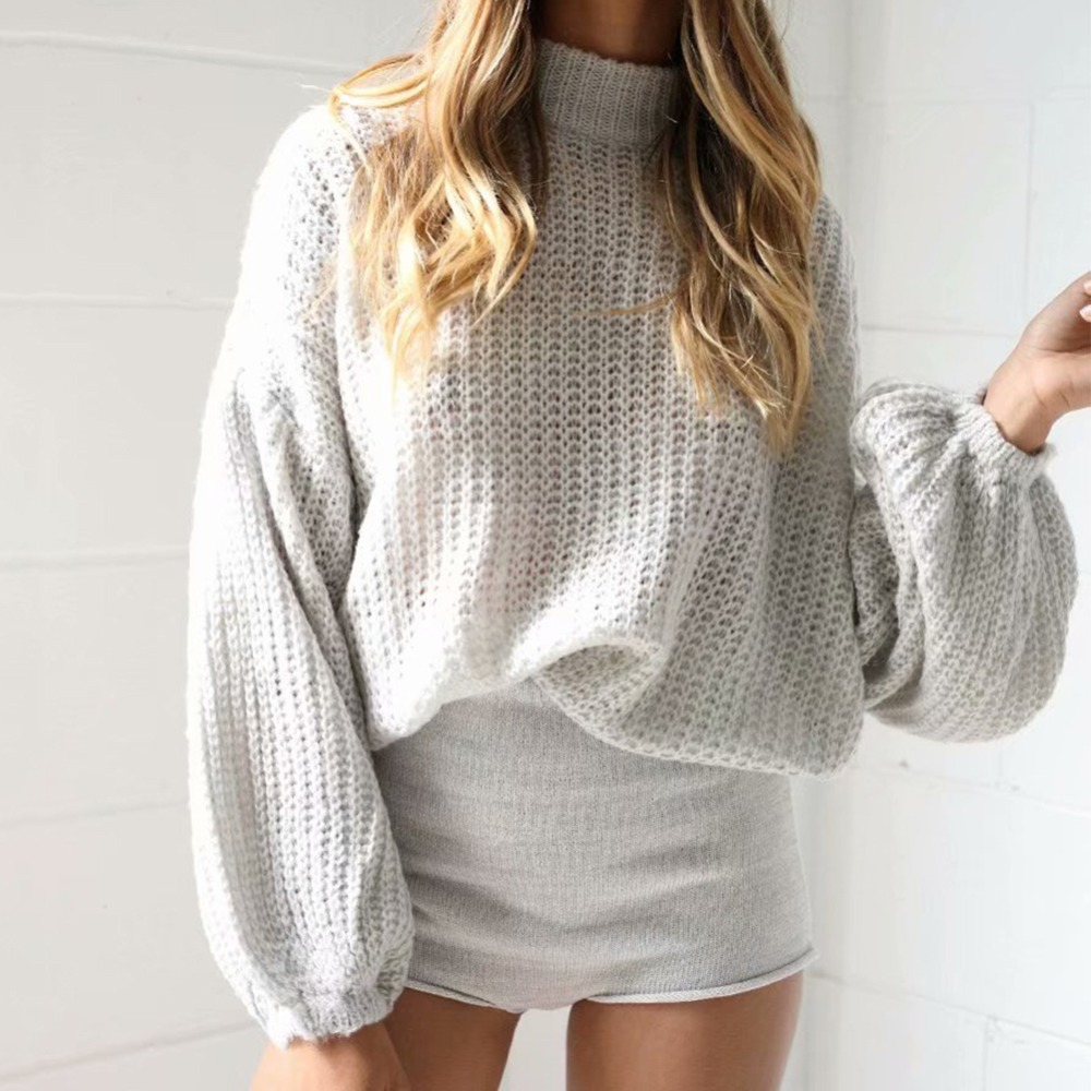 Winter Jumper Women 2019 New Loose Pullover Sweater Turtleneck Lantern Sleeve Fashion Clothes For Female Winter Women Sweater