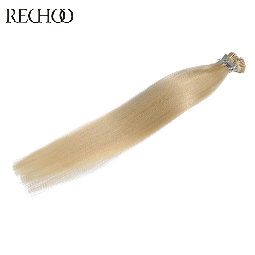 Rechoo I-tip Pre Bonded Fusion Hair Extensions Straight Brazilian Remy Human Hair On Capsule 100g 100 Strands I-tip 18