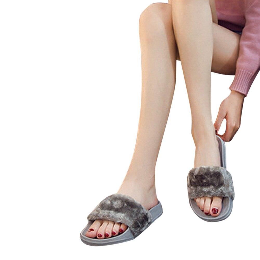 SAGACE 2018 caliente nueva moda alta calidad mujeres niñas señoras deslizamiento en deslizadores mullida piel de imitación plana del deslizador flop sandalia