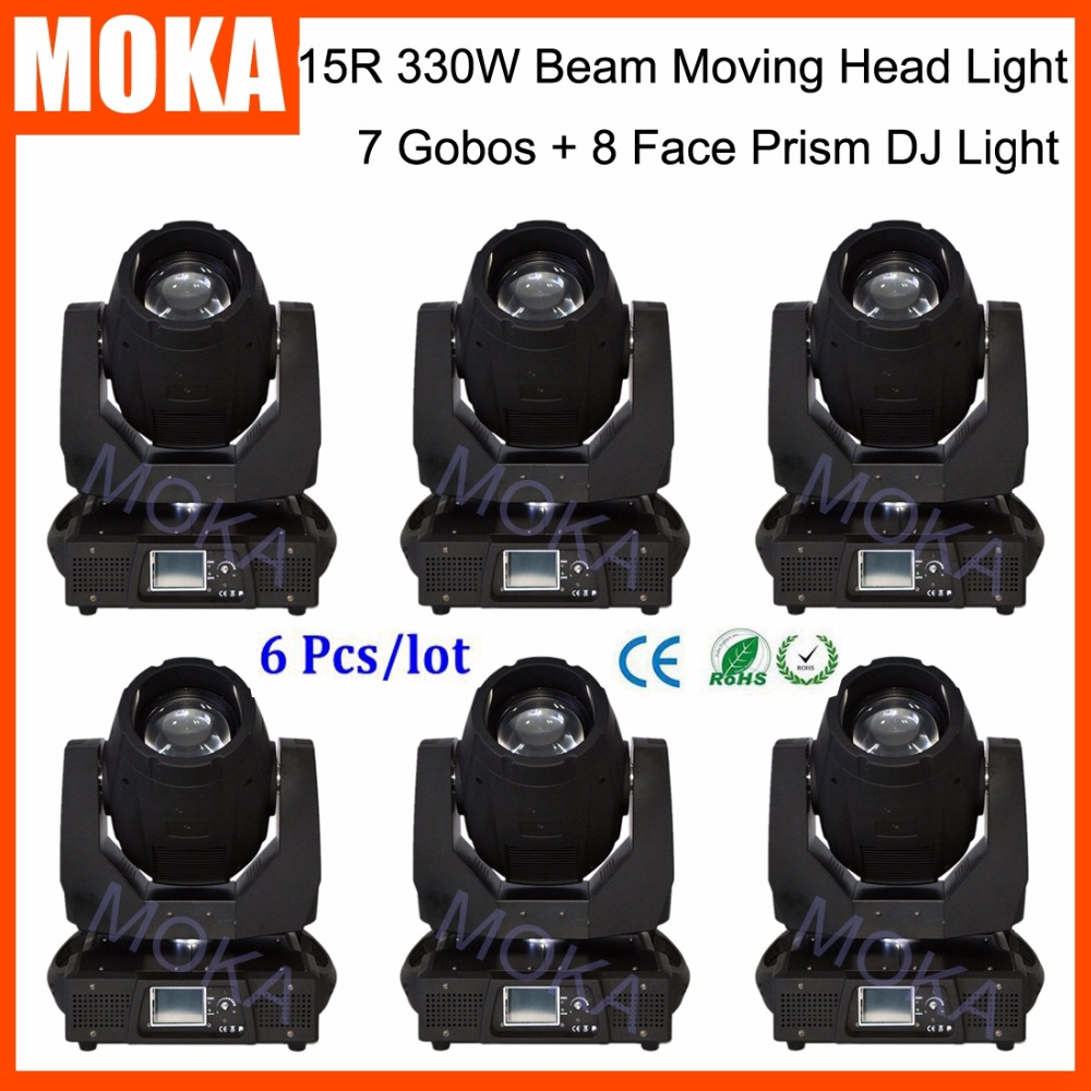 6 Pcs/lot 15R DMX 16/20Channel Beam Moving Head Spot Light 330W DJ Moving Head Beam Projector With CE RoHS Certificate
