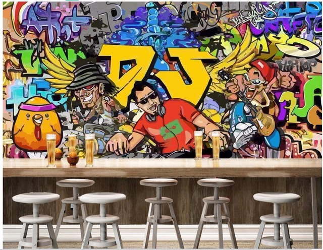 3d Wallpaper Custom Photo Mural Cartoon Character Graffiti Bar Ktv