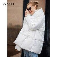 Amii более Размеры d 90% белое пуховое пальто для женщин зима 2018 повседневные однотонные с капюшоном свет плюс женский пуховики