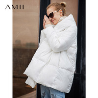 Amii Oversized 90% White Duck Down Coat Women Winter 2018 Causal Solid Hooded Light Plus Size Female Down Jackets Parkas