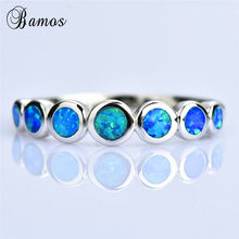 Boho Female Small Round Finger Ring 925 Silver Blue White Fire Opal Stone Ring Vintage Wedding Engagement Rings For Women(China)