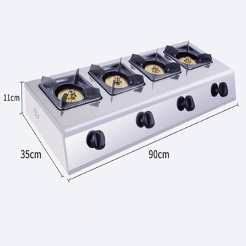 Commercial 4-cooker Liquefied Gas Cooktop Energy Saving Head Gas Stove Fire Stove Restaurant Cooking Tool Stainless Steel