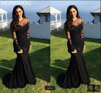 Elegant New Design Mermaid Black Lace Appliques Prom Dress Long Sleeve Beaded Sequins Prom Gowns Formal