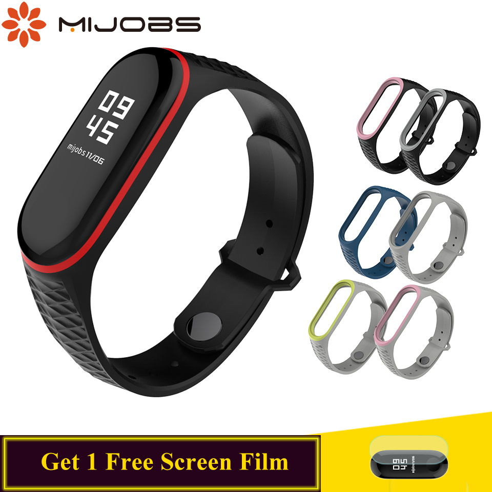 Mijobs For Mi Band 4 Strap Silicone Wrist  For Xiaomi 4 3 Strap Smart Accessories For Mi Band 4 3 Strap Bracelet  Aurora Sport