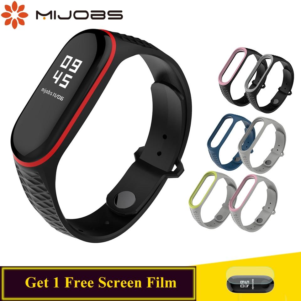 Mijobs For Mi Band 4 Strap Silicone Wrist  For Xiaomi 4 3 Strap Smart Accessories For Mi Band 4 3 Strap Bracelet  Aurora Sport