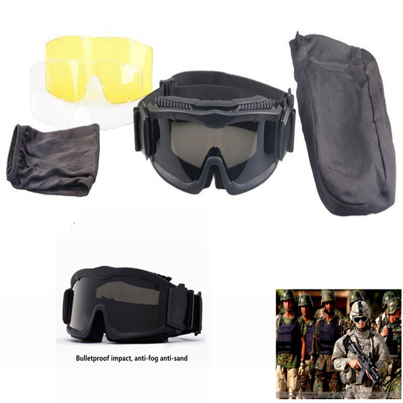 Army Tactical Sunglasses Military Hunting Shooting Anti-frog Windproof Goggles Wargame Airsoft Sport Men Glasses