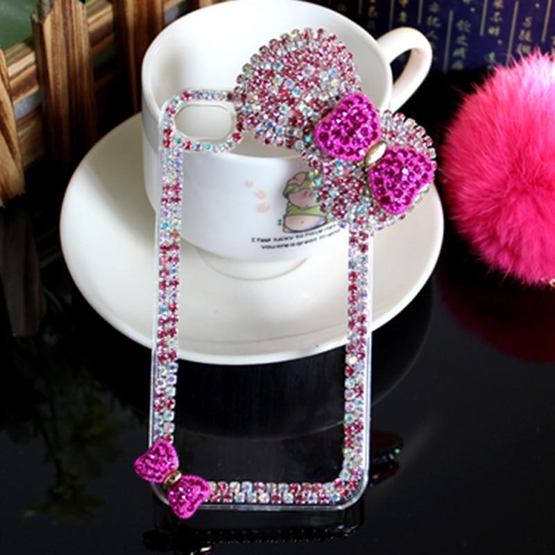 Lyxig 3D-båge knäppt diamantväska Rhinestone Crystal Bling Cover - Reservdelar och tillbehör för mobiltelefoner - Foto 1