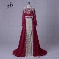 Dài Trang Phục Chính Thức Buổi Tối ăn mặc Cộng Với Kích Thước Dài Sleeves Pearls Ren Đính Dress Elegant Hồi Giáo Evening Gown Vestidos De Festa