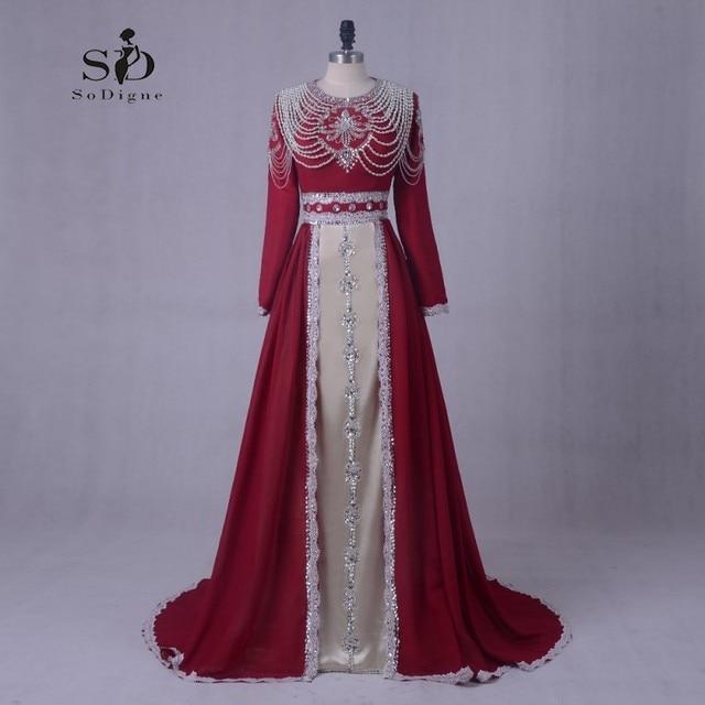 Long Formal Dress Evening dress Plus Size Long Sleeves Pearls Lace Applique  Dress Elegant Muslim Evening Gown Vestidos De Festa 7390d665e3d9