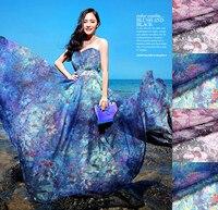 도매 1 미터 (폭 135 센치메터) 100% 실제 뽕나무 실크 쉬폰 인쇄 그레이 핑크 블루 꽃 패브릭 드레스 DIY 바느