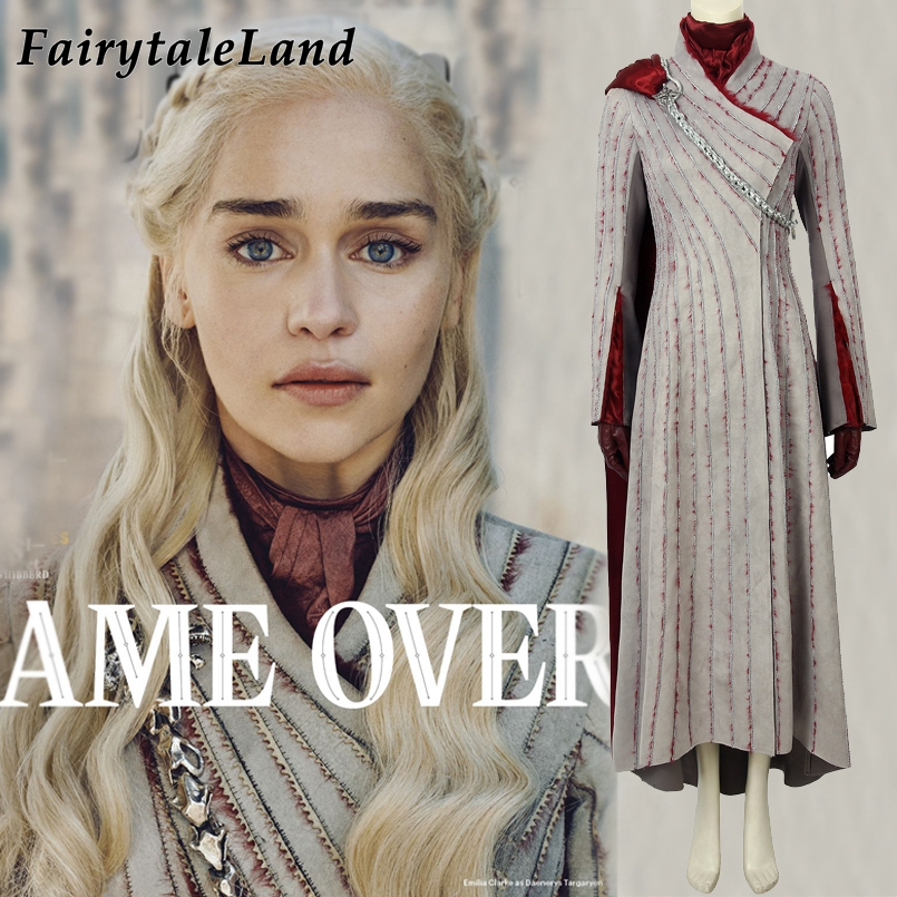Game Of Thrones Season 8 Daenerys Targaryen Costume Cosplay Halloween Outfit Game Of Thrones Costume Fancy Dress With Brooch